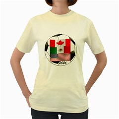 United Football Championship Hosting 2026 Soccer Ball Logo Canada Mexico Usa Women s Yellow T Shirt by yoursparklingshop