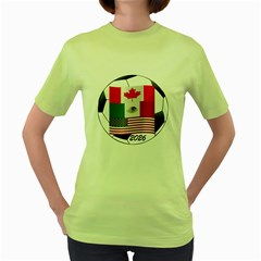 United Football Championship Hosting 2026 Soccer Ball Logo Canada Mexico Usa Women s Green T Shirt by yoursparklingshop