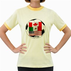 United Football Championship Hosting 2026 Soccer Ball Logo Canada Mexico Usa Women s Fitted Ringer T-shirts by yoursparklingshop