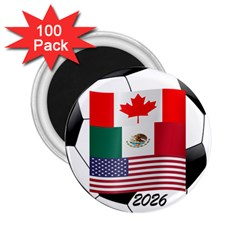 United Football Championship Hosting 2026 Soccer Ball Logo Canada Mexico Usa 2 25  Magnets (100 Pack)  by yoursparklingshop