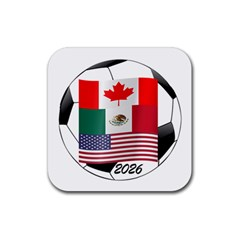 United Football Championship Hosting 2026 Soccer Ball Logo Canada Mexico Usa Rubber Coaster (square)  by yoursparklingshop
