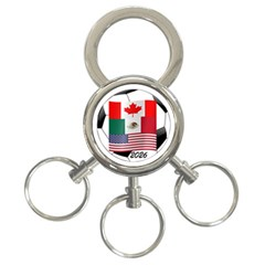 United Football Championship Hosting 2026 Soccer Ball Logo Canada Mexico Usa 3 Ring Key Chains by yoursparklingshop