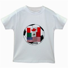 United Football Championship Hosting 2026 Soccer Ball Logo Canada Mexico Usa Kids White T-shirts by yoursparklingshop
