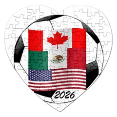 United Football Championship Hosting 2026 Soccer Ball Logo Canada Mexico Usa Jigsaw Puzzle (heart) by yoursparklingshop