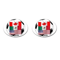 United Football Championship Hosting 2026 Soccer Ball Logo Canada Mexico Usa Cufflinks (oval) by yoursparklingshop