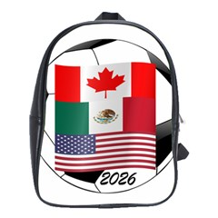 United Football Championship Hosting 2026 Soccer Ball Logo Canada Mexico Usa School Bag (large) by yoursparklingshop