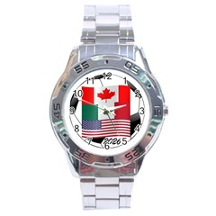 United Football Championship Hosting 2026 Soccer Ball Logo Canada Mexico Usa Stainless Steel Analogue Watch by yoursparklingshop