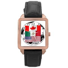 United Football Championship Hosting 2026 Soccer Ball Logo Canada Mexico Usa Rose Gold Leather Watch  by yoursparklingshop