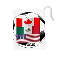 United Football Championship Hosting 2026 Soccer Ball Logo Canada Mexico Usa Drawstring Pouches (large)  by yoursparklingshop