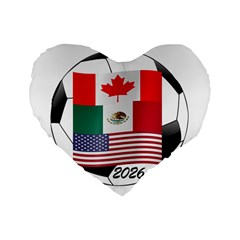 United Football Championship Hosting 2026 Soccer Ball Logo Canada Mexico Usa Standard 16  Premium Flano Heart Shape Cushions by yoursparklingshop