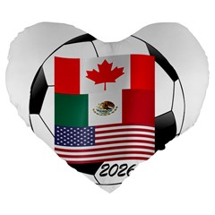 United Football Championship Hosting 2026 Soccer Ball Logo Canada Mexico Usa Large 19  Premium Flano Heart Shape Cushions by yoursparklingshop