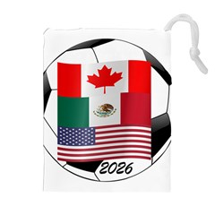 United Football Championship Hosting 2026 Soccer Ball Logo Canada Mexico Usa Drawstring Pouches (extra Large) by yoursparklingshop