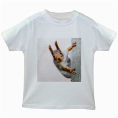 Curious Squirrel Kids White T Shirts by FunnyCow