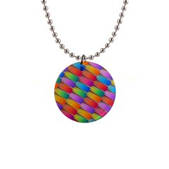 Colorful Textured Shapes Pattern                                      1  Button Necklace by LalyLauraFLM