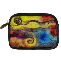 Painted Swirls                               Digital Camera Leather Case by LalyLauraFLM