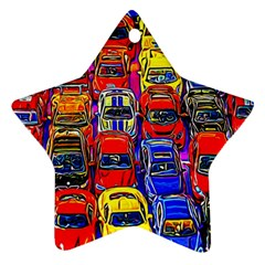 Colorful Toy Racing Cars Ornament (star) by FunnyCow