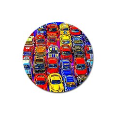 Colorful Toy Racing Cars Magnet 3  (round) by FunnyCow