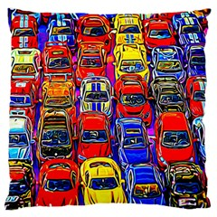 Colorful Toy Racing Cars Large Flano Cushion Case (two Sides) by FunnyCow