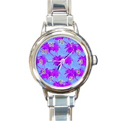 Palm Trees Caribbean Evening Round Italian Charm Watch by CrypticFragmentsColors