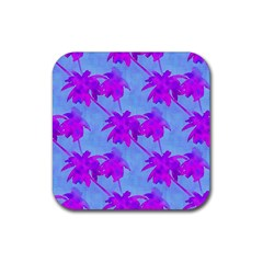 Palm Trees Caribbean Evening Rubber Coaster (square)  by CrypticFragmentsColors