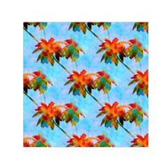 Palm Trees Sunset Glow Small Satin Scarf (square) by CrypticFragmentsColors