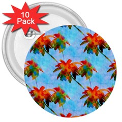 Palm Trees Sunset Glow 3  Buttons (10 Pack)  by CrypticFragmentsColors