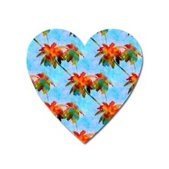 Palm Trees Sunset Glow Heart Magnet by CrypticFragmentsColors