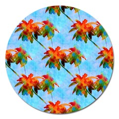 Palm Trees Sunset Glow Magnet 5  (round) by CrypticFragmentsColors