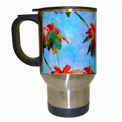 Palm Trees Sunset Glow Travel Mugs (white) by CrypticFragmentsColors