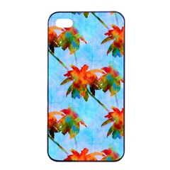 Palm Trees Sunset Glow Apple Iphone 4/4s Seamless Case (black) by CrypticFragmentsColors