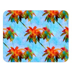 Palm Trees Sunset Glow Double Sided Flano Blanket (large)  by CrypticFragmentsColors
