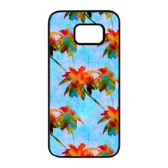 Palm Trees Sunset Glow Samsung Galaxy S7 Edge Black Seamless Case by CrypticFragmentsColors