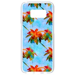 Palm Trees Sunset Glow Samsung Galaxy S8 White Seamless Case by CrypticFragmentsColors