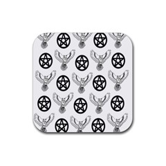Owls And Pentacles Rubber Coaster (square)  by IIPhotographyAndDesigns