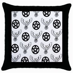 Owls And Pentacles Throw Pillow Case (black) by IIPhotographyAndDesigns