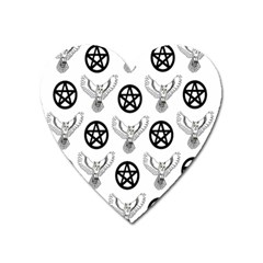 Owls And Pentacles Heart Magnet by IIPhotographyAndDesigns
