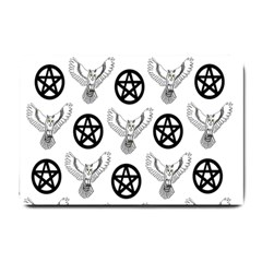 Owls And Pentacles Small Doormat  by IIPhotographyAndDesigns