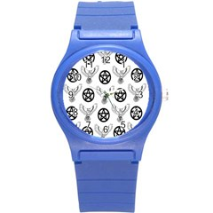 Owls And Pentacles Round Plastic Sport Watch (s) by IIPhotographyAndDesigns