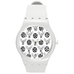 Owls And Pentacles Round Plastic Sport Watch (m) by IIPhotographyAndDesigns