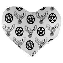 Owls And Pentacles Large 19  Premium Heart Shape Cushions by IIPhotographyAndDesigns