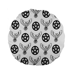 Owls And Pentacles Standard 15  Premium Flano Round Cushions by IIPhotographyAndDesigns
