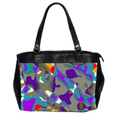 Blue Purple Shapes                                      Oversize Office Handbag (2 Sides) by LalyLauraFLM