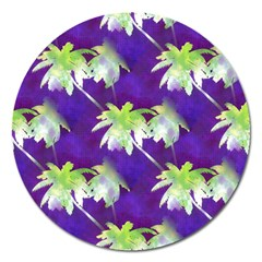 Palm Trees Hot Summer Nights Magnet 5  (round) by CrypticFragmentsColors