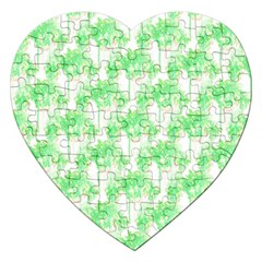Palm Trees Green Pink Small Print Jigsaw Puzzle (heart) by CrypticFragmentsColors