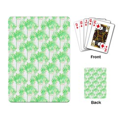 Palm Trees Green Pink Small Print Playing Card by CrypticFragmentsColors