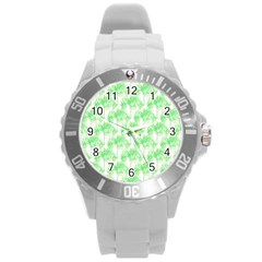 Palm Trees Green Pink Small Print Round Plastic Sport Watch (l) by CrypticFragmentsColors