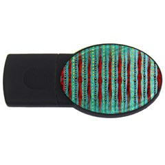 Bluegreen Background Red And Orange Seamless Design Created By Flipstylez Designs Usb Flash Drive Oval (2 Gb)