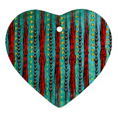 Bluegreen Background Red And Orange Seamless Design Created By Flipstylez Designs Heart Ornament (two Sides)