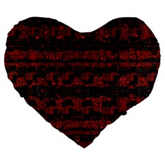 Burgundy Design With Black Zig Zag Pattern Created By Flipstylez Designs Large 19  Premium Heart Shape Cushions