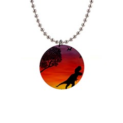 Sunset Dinosaur Scene Button Necklaces by IIPhotographyAndDesigns